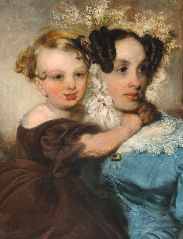 called Portrait of Mrs Mary Linsdell (b1805) and her daughter Annie (b1841) (detail) by John Robert Wildman (1788—1843) © Valence House Museum
