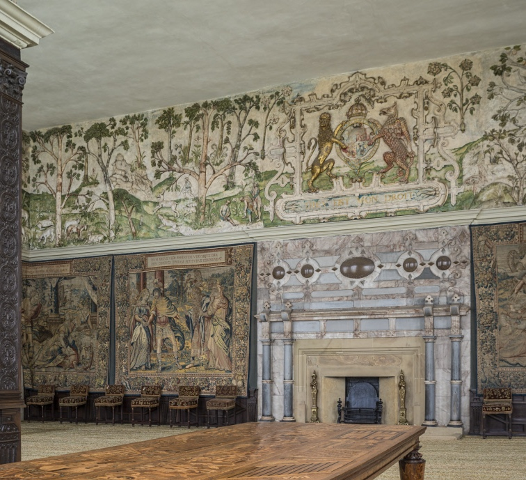 Looking across the Eglantine Table towards the fireplace in the High Great Chamber at Hardwick Hall, Derbyshire © National Trust Images/Andreas von Einsiedel