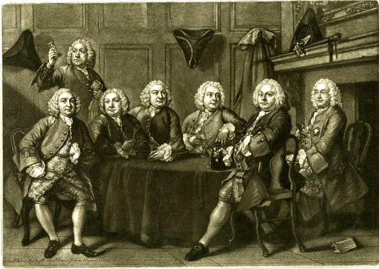 Benn's Club, group portrait of six Aldermen of the City of London, John Faber the Younger after a painting by Thomas Hudson of 1752 now in the collection of the Goldsmiths' Company © The Trustees of the British Museum