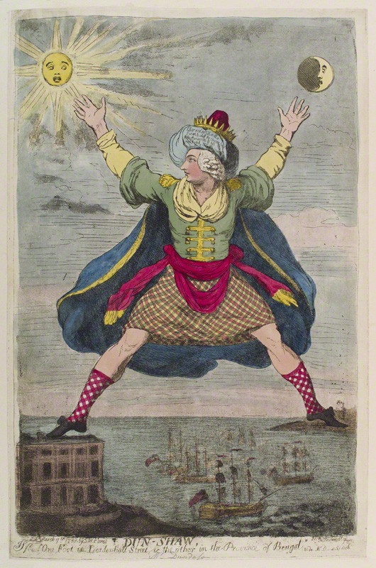 Henry Dundas, 1st Viscount Melville ('Dun-Shaw'), statesman, by James Gillray, published by Samuel William Fores, hand-coloured etching, aquatint and soft-ground etching, published 7 March 1788. © National Portrait Gallery, London