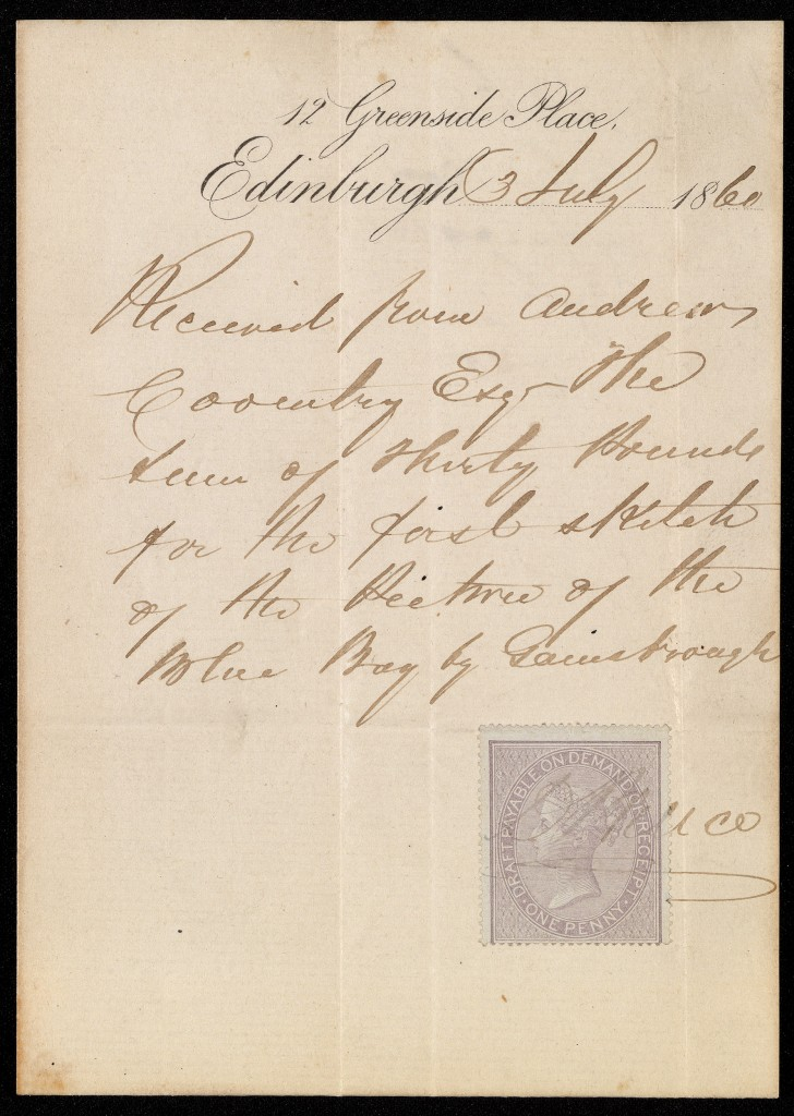 Receipt for the study for Arthur Atherley, D. Bruce, 1860. © The Holburne Museum