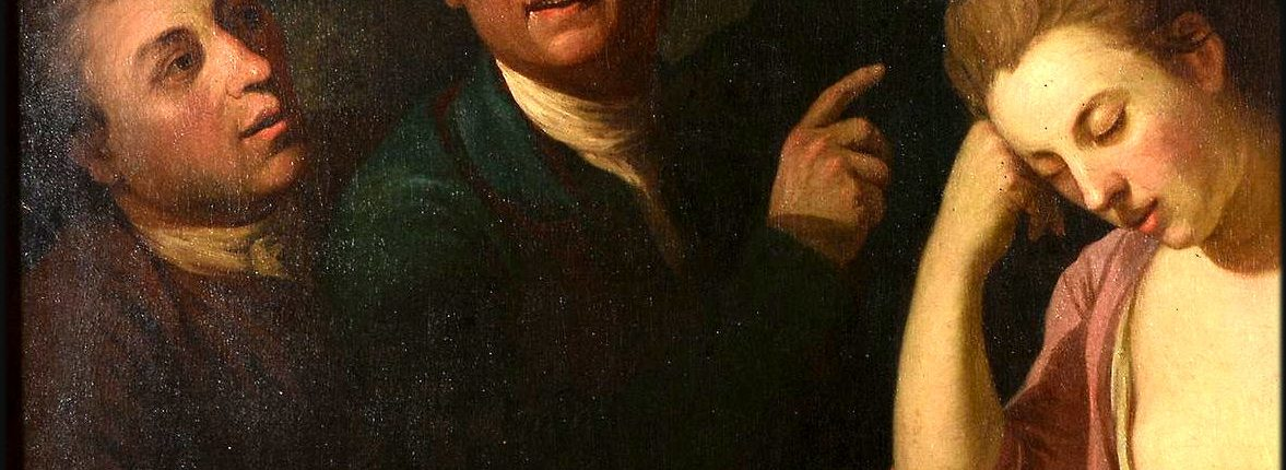 Formerly identified as a portrait of Samuel Foote, David Garrick and Eva Maria Veigel, artist unknown (detail)