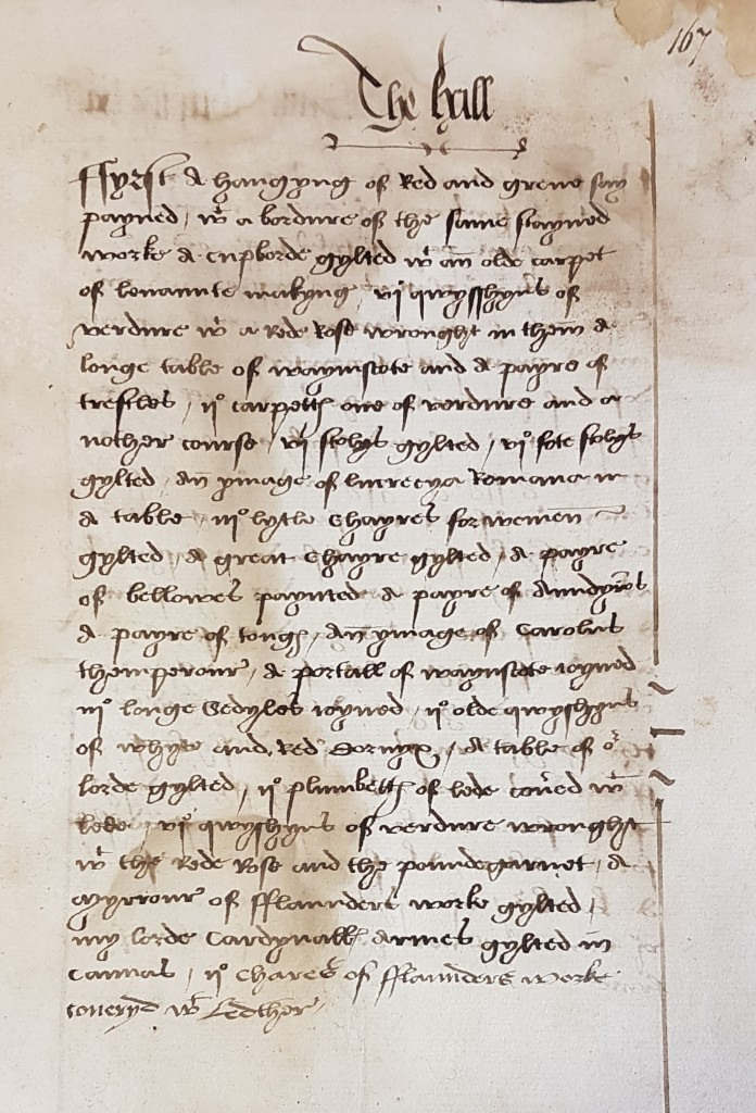 Fig. 3 Thomas Cromwell Inventory, c.1526-28 (National Archives, Kew, SP 1/42 f107).