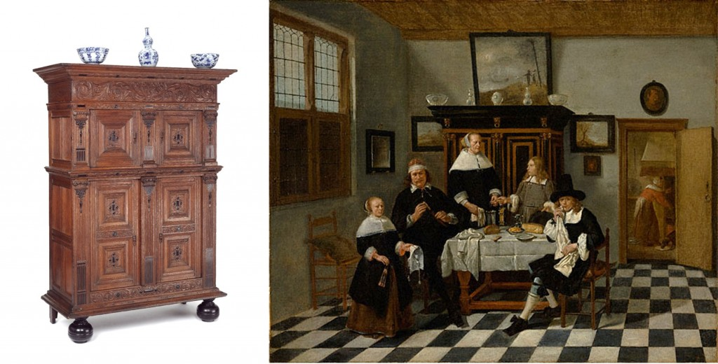 Left: Linen cupboard (kast), oak inlaid with ebony; ebonised feet, Dutch Republic (now the Netherlands), 1620–40. Museum no. 860-1907 © Victoria and Albert Museum, London Right: A Family Group in an Interior, attributed to Quiringh van Breckelenkam, ca.1658-70 J. Paul Getty Museum
