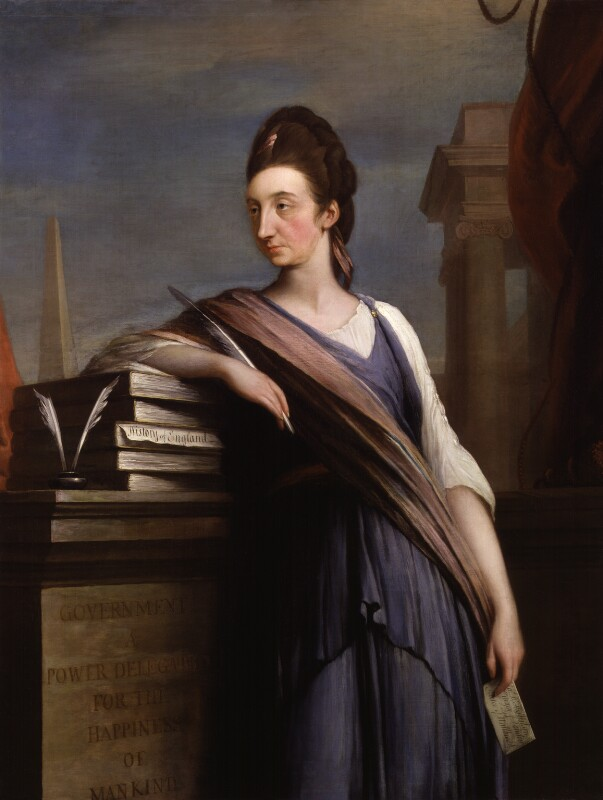 Catharine Macaulay (née Sawbridge), historian and political polemicist, by Robert Edge Pine, oil on canvas, c.1775 © National Portrait Gallery, London.