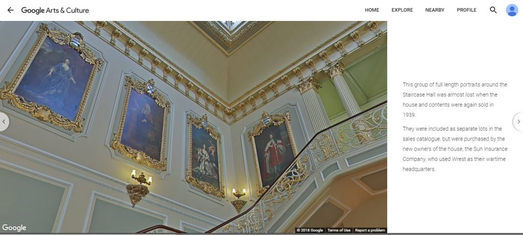 A new online exhibition for Wrest park combines factual and interpretive content with the opportunity for users to roam the house and gardens: https://artsandculture.google.com/exhibit/KgJiV0ZCiGDgKA