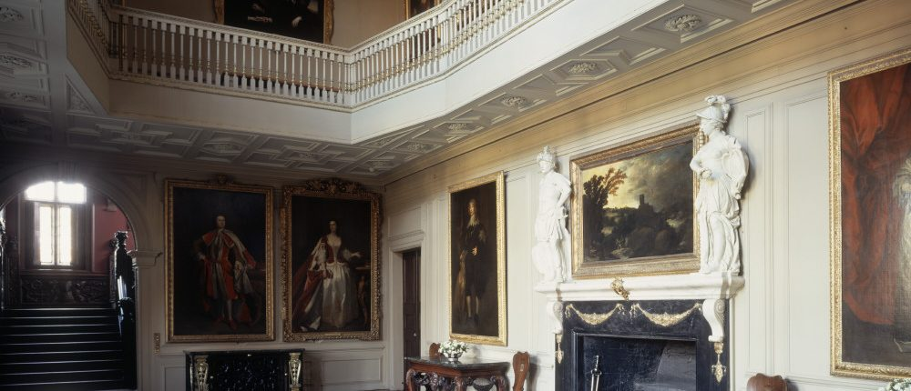 Ham House, Surrey. The Great Hall, with its original black and white marble floor. The ceiling was pierced c.1698-1728 to create the present hall and first-floor gallery. © National Trust Images/Bill Batten