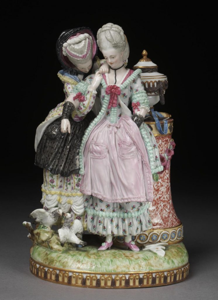 M.V.Acier, Figure group of 'The Young Bride', hard-paste porcelain painted in enamels and gilt, 1774-75, made by Meissen porcelain factory, Victoria and Albert Museum. As Jenny showed us, Meissen pottery figurines often offer a good examples of the 'layers' of clothing worn during the period. with the 'stays' worn visible and worn on the outside