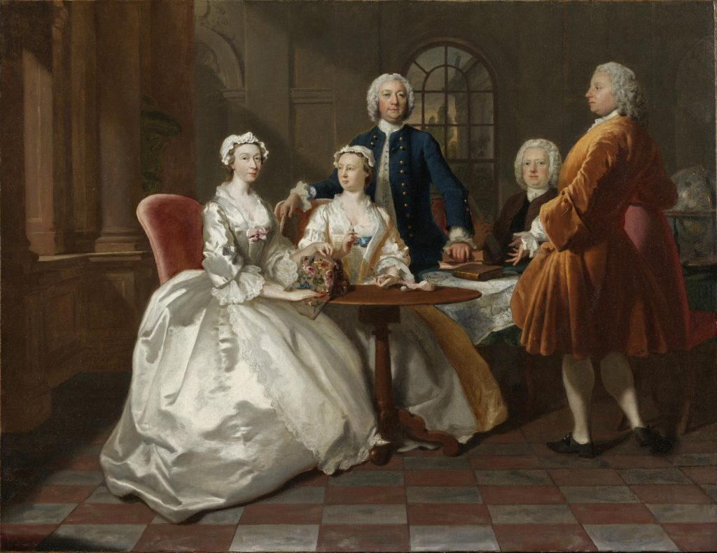 Joseph Highmore, Conversation piece, including Jane Vigor with family and friends (Joseph Vigor, Ann Vigor, William Vigor and probably John Penn), oil painting, c.1744, Victoria and Albert Museum. A painting illustrated the range of fabrics used during the period. In this instance the women are dressed in silk satin and lace, and the men are wearing full skirted coats made from silk velvet and wool.