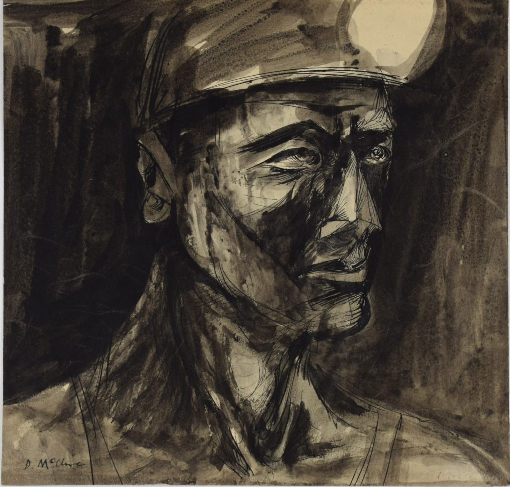Head of a Miner by David McClure, 1948. Pen and ink on paper. 225mm x 235mm. Photograph: Richard Hawkes. Copyright: The David McClure Estate. Courtesy of The Auckland Project.