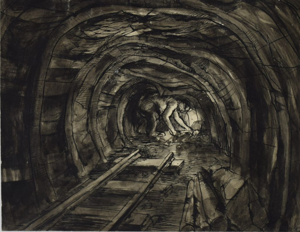 Tunnel End with Miner by David McClure, 1947. Pen and ink on paper. 207.5mm x 265mm. Photograph: Richard Hawkes. Copyright: The David McClure Estate. Courtesy of The Auckland Project.