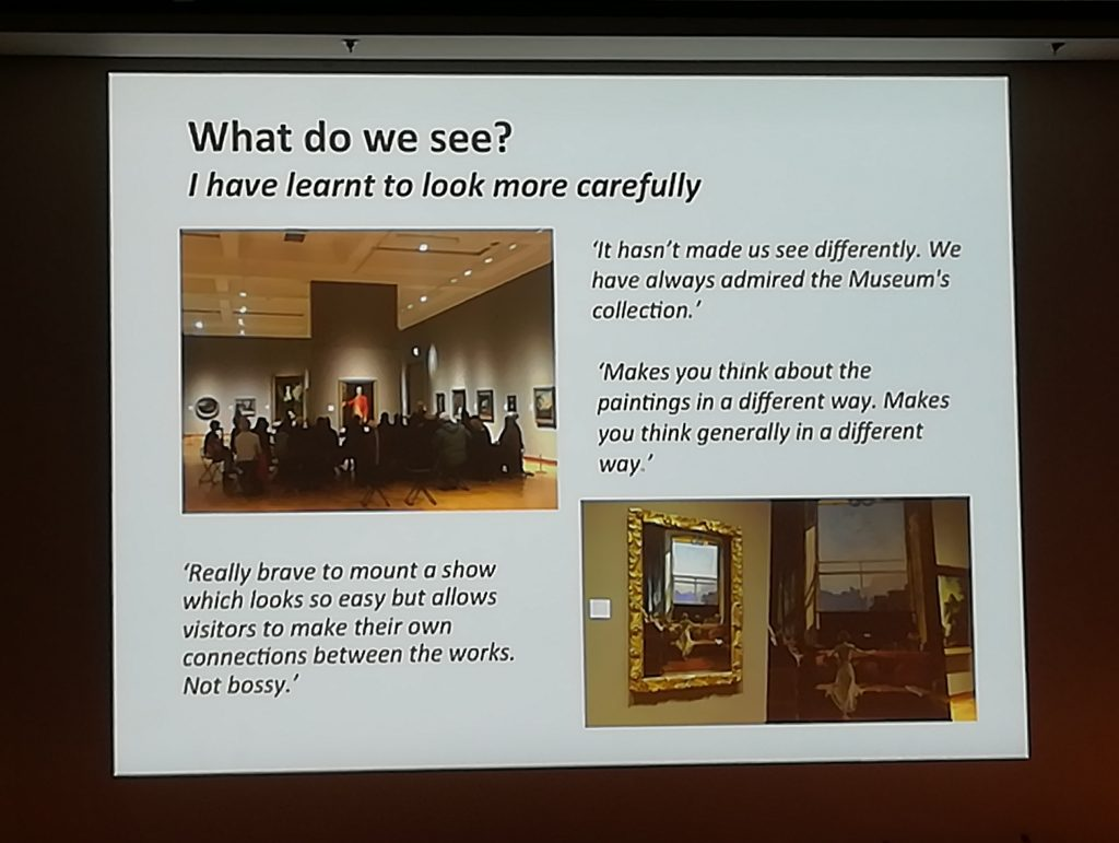 'What do we see?' slide from Ulster Museum's presentation, photograph taken by Elizabeth Socci at 'Why Exhibitions' Conference