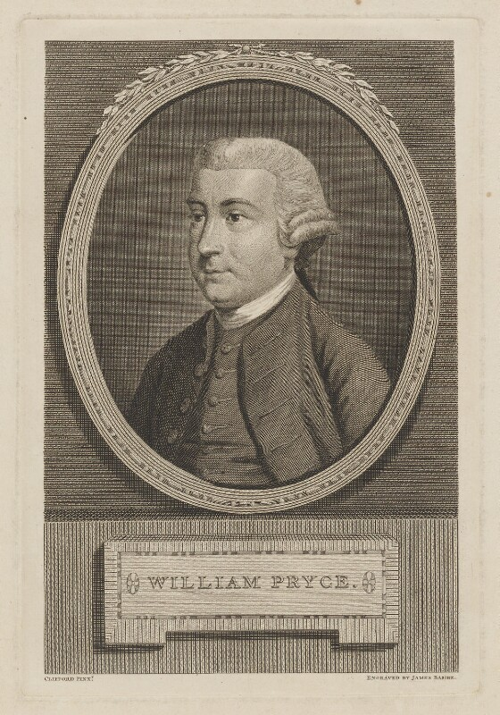 William Pryce (baptised 1735-died 1790), surgeon, mineralogist and antiquary, by James Basire, after Clifford. Line engraving, c.1778 © National Portrait Gallery, London