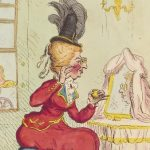Sarah Archer (née West), Lady Archer ('The finishing touch') (detail) by James Gillray, published by Hannah Humphrey, hand-coloured etching, published 29 September 1791 © National Portrait Gallery, London