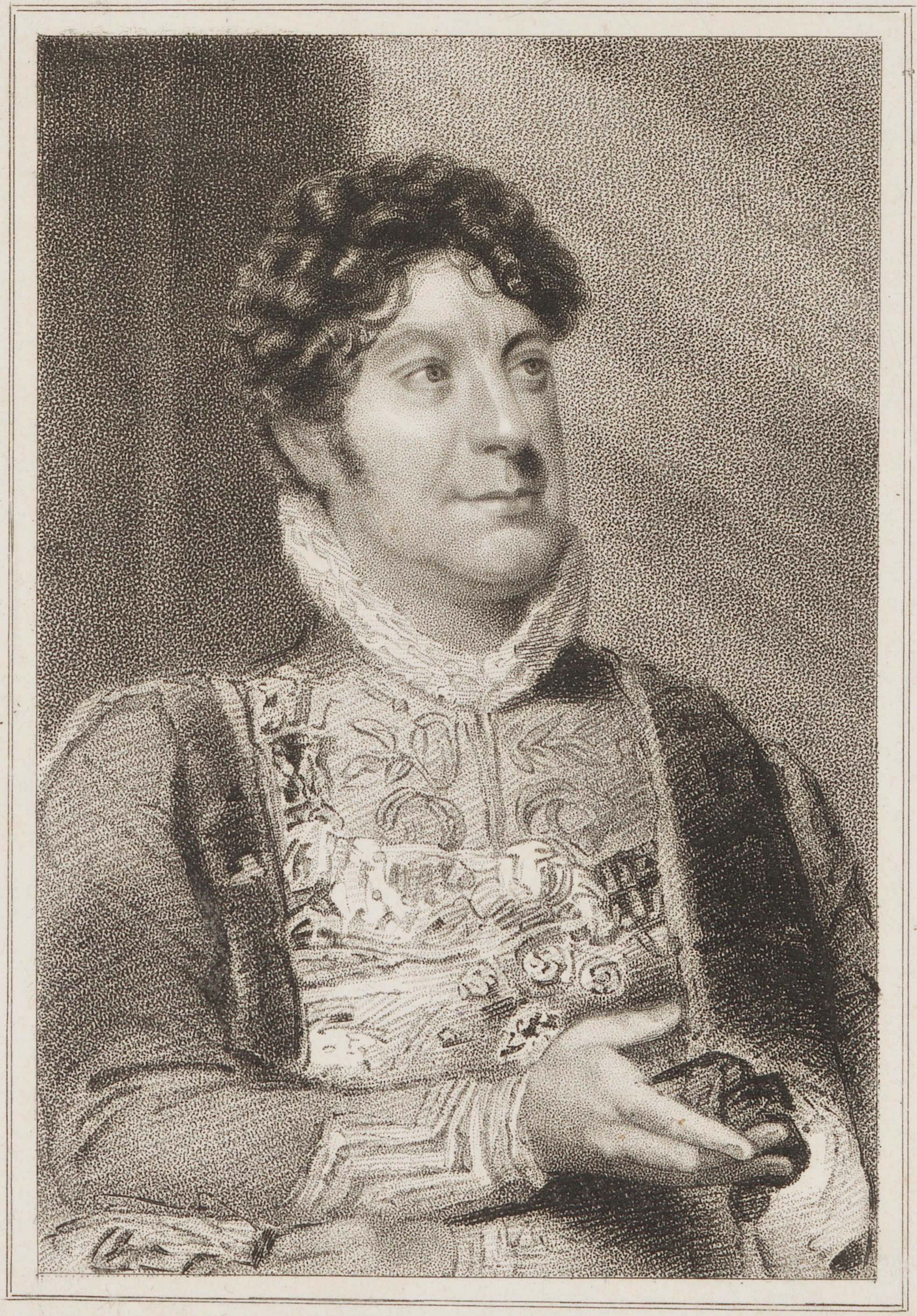 Charles Farley as Cloten in 'Cymbeline' by Thomas Woolnoth, published by Simpkin and Marshall, after Thomas Charles Wageman, stipple engraving, published 1821. NPG D38673. © National Portrait Gallery, London