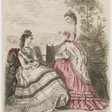Day and evening dresses, 1869, probably after Héloise Leloir (née Colin), hand-coloured etching, line and stipple engraving, 1869. © National Portrait Gallery, London (ref. D48042)