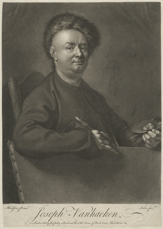 Joseph van Aken by John Faber Jr, published by George Pulley, after Thomas Hudson, mezzotint, 1740s, 13 7/8 in. x 9 3/4 in. (352 mm x 249 mm) paper size © National Portrait Gallery, London