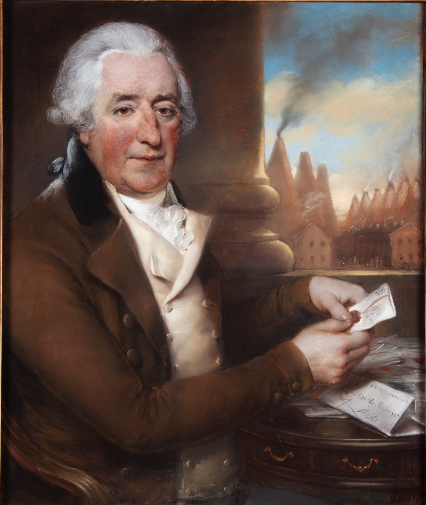 "John Russell, Portrait of Savile Green, Senior, pastel and chalk on prepared paper, 24 ¼"" by 29 ¼"" (© Leeds Museums and Galleries)"