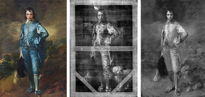 The Blue Boy (ca. 1770) by Thomas Gainsborough (1727-1788) shown in normal light photography (left), digital x-radiography (centre, including a dog previously revealed in a 1994 x-ray), and infrared reflectography (right). Oil on canvas, 70 5/8 x 48 3/4. The Huntington Library, Art Collections, and Botanical Gardens