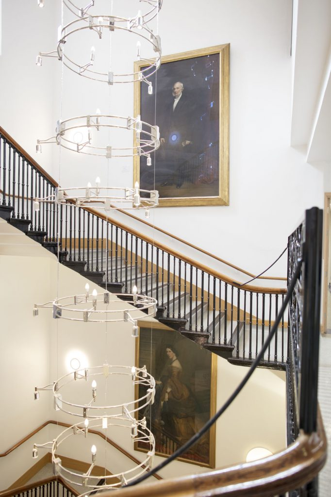 Stairway, The Royal Marsden NHS Foundation Trust, Chelsea. The portraits are of hospital founder William Marsden (1796-1867) by English school, mid-nineteenth century (above), and hospital benefactor Baroness Burdett-Coutts (1814-1906) by circle of Sir Francis Grant, PRA © The Royal Marsden NHS Foundation Trust