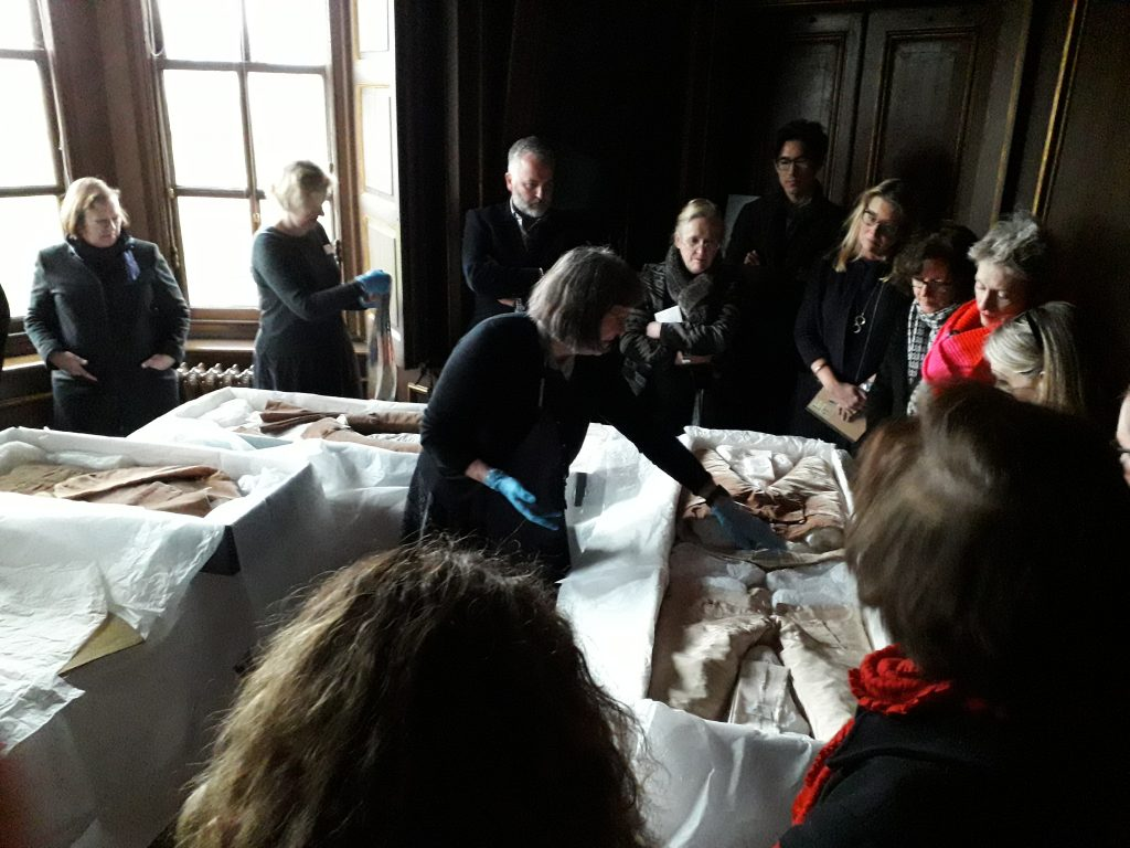 Jenny Tiramani, Principal of The School of Historical Dress, discussing clothing worn by Lionel Tollemache (1708-70), 4th Earl of Dysart, at the Ham House study day