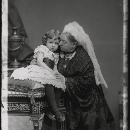 Queen Victoria (1819-1901) and her granddaughter Margaret, Crown Princess of Sweden (1882-1920), daughter of Prince Arthur, Duke of Connaught, by Alexander Bassano, half-plate glass negative, 26 November 1885 © National Portrait Gallery, London