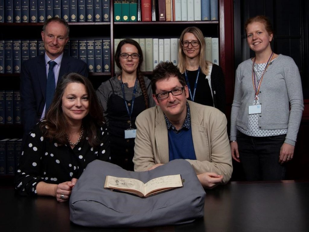 Fig. 1. Members of the team involved in The Sir George Scharf Database. (front row) left to right: Sarah Maguire and Philip Cottrell of the School of Art History and Cultural Policy, University College Dublin; (back row) left to right: David Saywell, Bryony Millan, Carys Lewis and Julia Bell of the Heinz Archive/ National Portrait Gallery