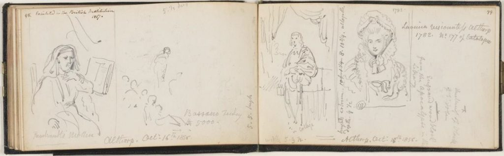 Fig. 4. George Scharf, Sketches of items from the Spencer Collection, including Cornelis Bisschop's 'Seated Old Woman with a Book', Jacopo Bassano's 'Feeding of the 5000', Joshua Reynolds's 'Portrait of George 2nd Earl Spencer' and 'Portrait of Lavinia, Viscountess Althorp', Althorp, Northamptonshire, 16 October 1856. Pages 98-99 of Scharf Sketchbook 43. Heinz Archive, National Portrait Gallery, London
