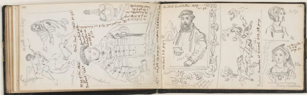 Fig. 5. George Scharf, Sketches of items from the Warwick Collection, including Hans Holbein's 'Portrait of Henry VIII', Jan Sanders van Hemessen's 'Portrait of a Bearded Gentleman', Peter Paul Rubens's 'Death of Adonis' and anonymous pendant portraits of Anne and Mary Boleyn, Warwick Castle, Warwickshire, 20 October, 1843. Pages 132-133 of Scharf Sketchbook 43. Heinz Archive, National Portrait Gallery, London