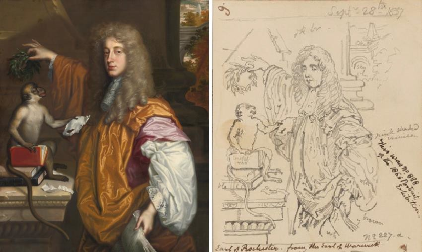Fig. 6. Jacob Huysmans's, Portrait of John Wilmot, Earl of Rochester, Crowning his Monkey with Laurel (Sotheby's, London, 9 July 2014, lot 42) compared with George Scharf's sketch of this item in situ at the Art Treasures Palace, Manchester 28 September, 1857 – see page 9 of Scharf Sketchbook 48. Heinz Archive, National Portrait Gallery, London