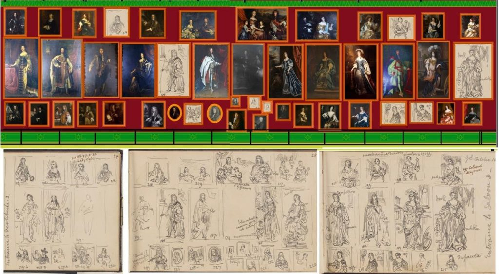 Fig. 7. Author's reconstruction of a section of the British Portrait Gallery hang at the Art Treasures Palace (North Wall, Back of Saloon D). Huysmans's Portrait of John Wilmot, Earl of Rochester is bottom row third from the left). The reconstruction is drawn from Scharf's sketches of this area of the hang compiled on 10 October 1857 (illustrated) – pages 24-26 recto of Scharf Sketchbook 49. Heinz Archive, National Portrait Gallery, London