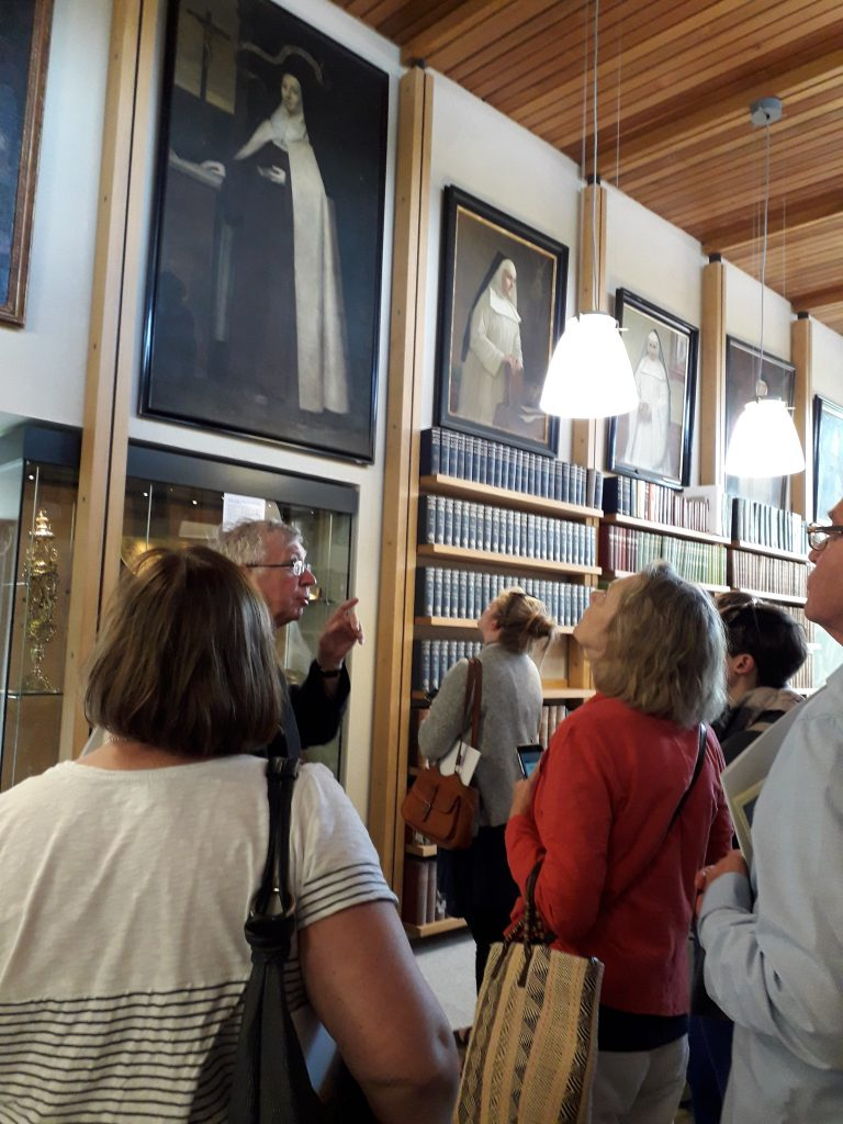 Abbot Geoffrey Scott OSB with the UBP delegates in Douai Abbey Library