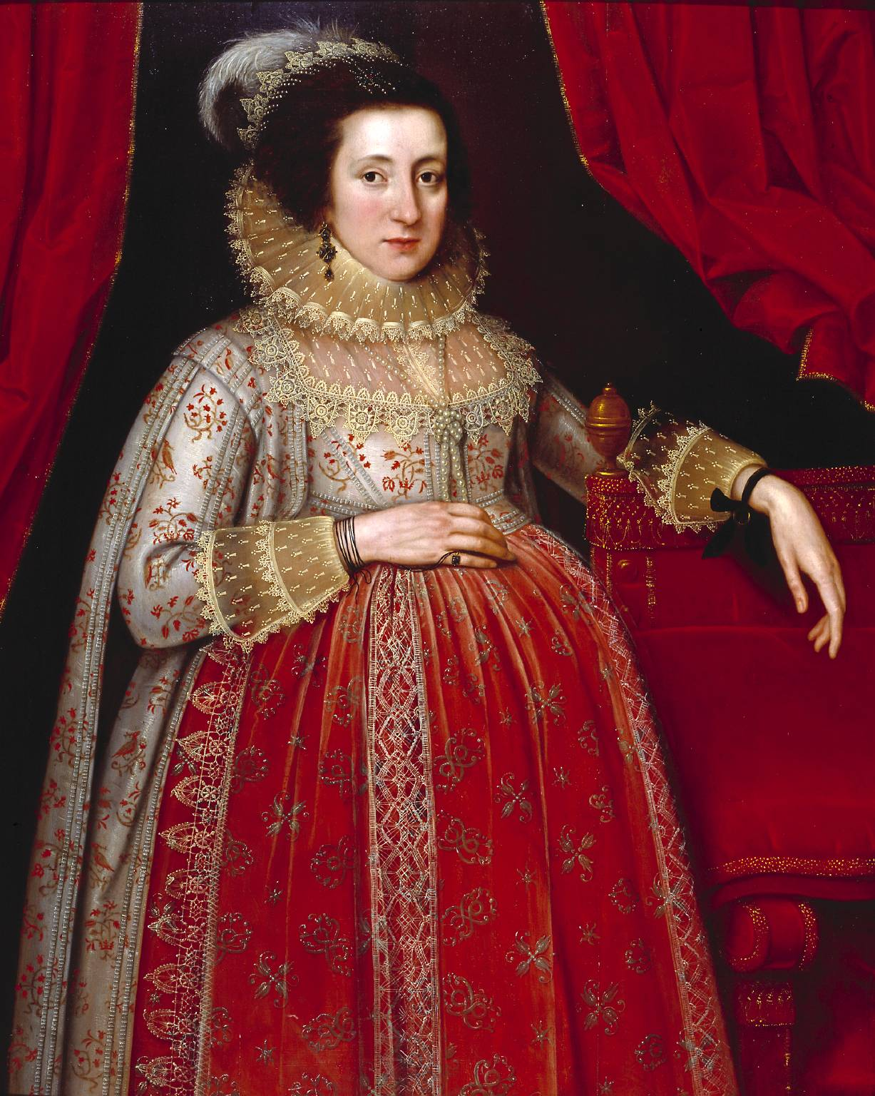 Portrait of a Woman in Red by Marcus Gheeraerts II, 1620 © Tate