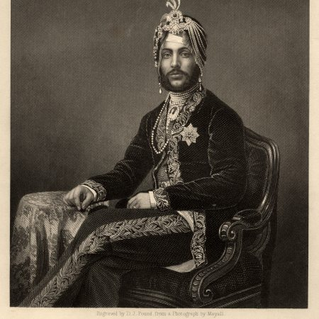 Maharaja Duleep Singh, Maharaja of Lahore (1838-93), by Daniel John Pound, after John Jabez Edwin Mayall, line and stipple engraving, 1854 or after © National Portrait Gallery, London