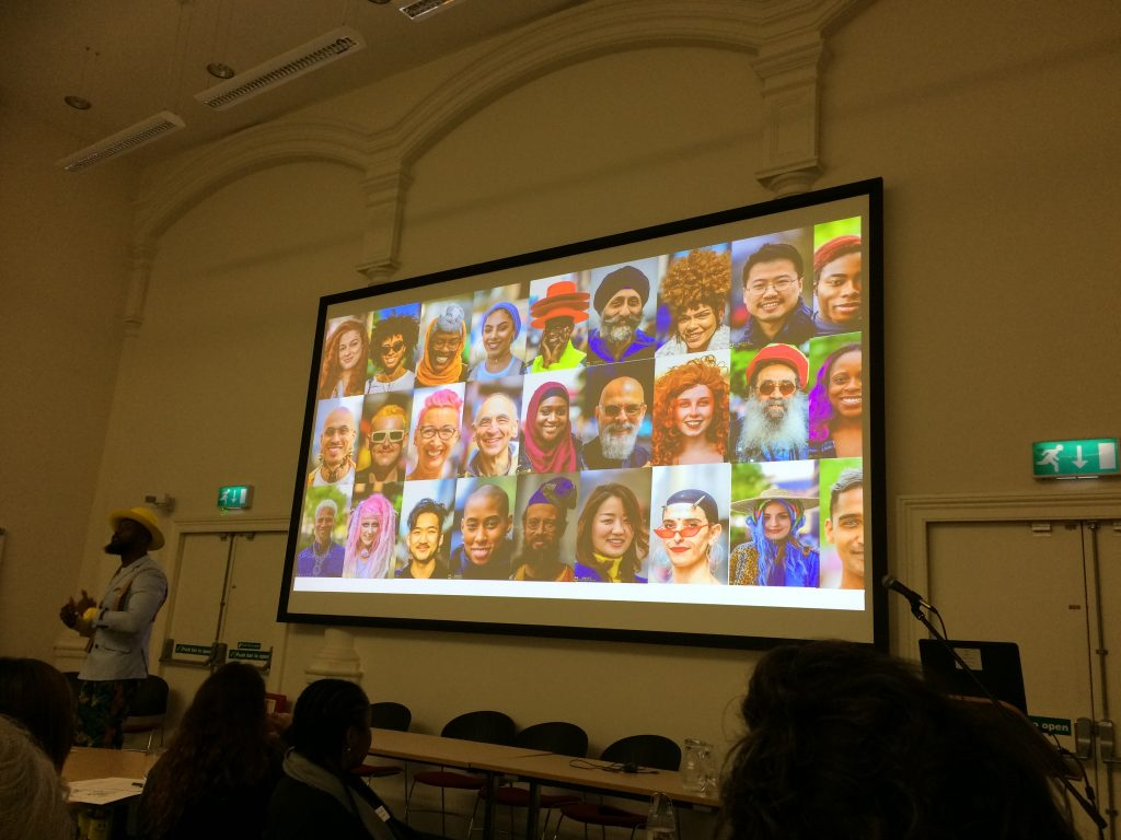 "Photo from presentation - speaker Kay Rufai, ""Self-Esteem Team- Positive Portraiture in our image obsessed age"" at Engaging Young People aged 14-21 with Portraits conference, Leeds Art Gallery 21 January 2020"