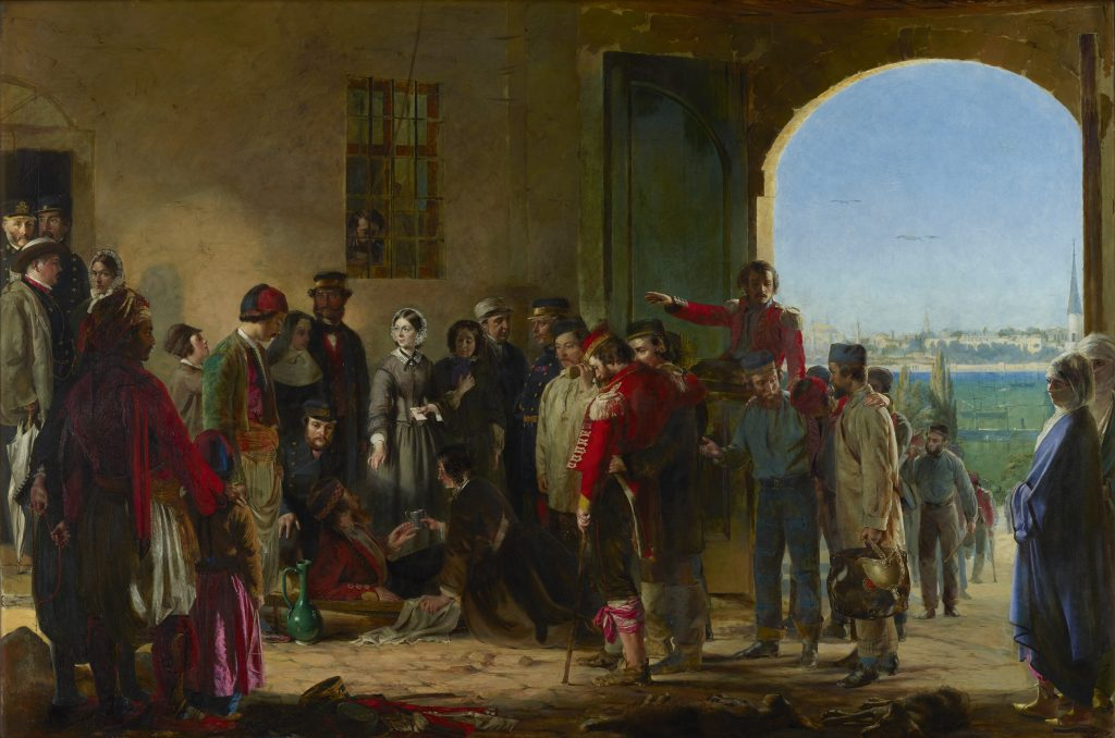 Florence Nightingale receiving the Wounded at Scutari' by Jerry Barrett, oil on canvas, 1856. NPG 4305 © National Portrait Gallery, London